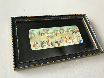 Vintage Chinese Tiny Small Hand Painted Art Framed Picture Antique
