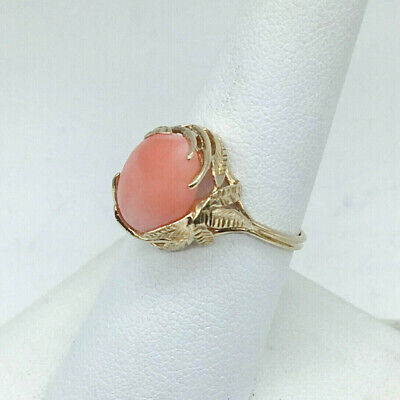 Solid 14K Yellow Gold Coral Cabochon Leaf Ring, 2.6 grams, Size 7.5