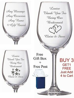 Personalised Engraved Wine Glass birthday wedding bridesmaid prosecco wine Gifts