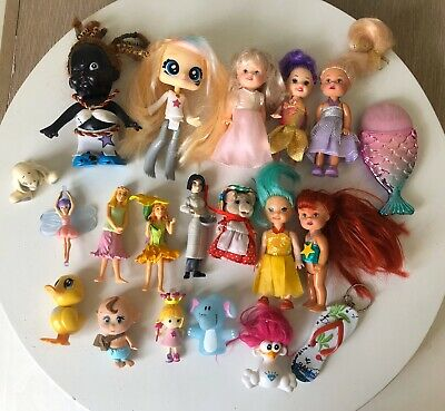 20 X Random Small Assorted Toys Girls Dolls Figures Dollhouse Mixed Lot Used