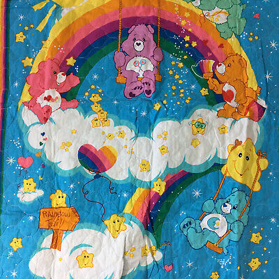 Care Bears Quilted Rainbow Baby Blanket! Thick Plush Girls Wish Tender Heart Luv