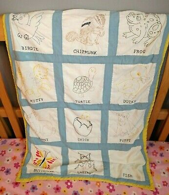 Vintage Baby Blanket Embroidered Quilt Animals Blue Handmade 38 x 28