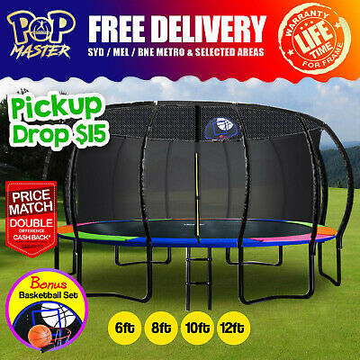【XMAS SALE | 20%Off】6/8/10/12FT Rainbow Curved Trampoline with Basketball Hoop
