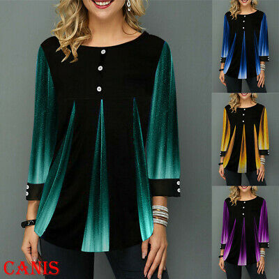 Women Gradient Long Sleeve Tunic Tops Jersey Ladies Baggy Blouse Jumper Pullover
