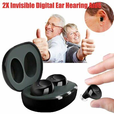 2PCS Black Invisible Digital Ear Hearing Aid Sound Voice Amplifier Rechargeable