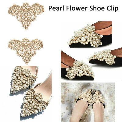 1 Pair Pearl Flower Shoe Clip Rhinestones Removable Pointed Shoes Decoration-WI