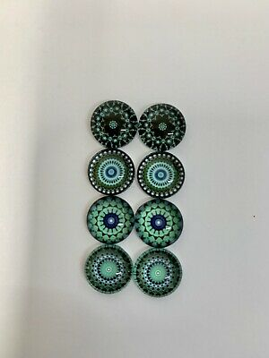 4 Pairs Of 12mm Glass Cabochons #657