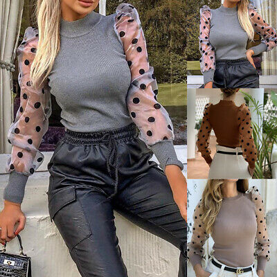 Women Turtle Neck Mesh Puff Long Sheer Sleeve Sweater Top Pullover Blouse Shirts