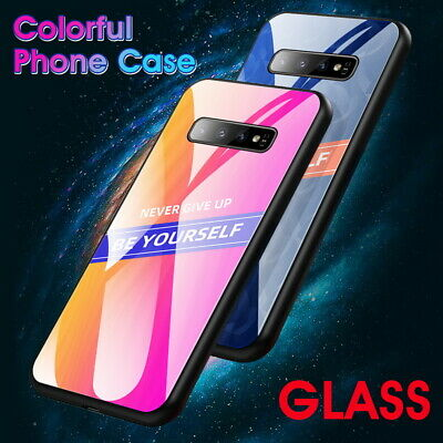 For Samsung S10 Note 10 Plus S9 A50 A70 Tempered Glass Rubber Bumper Case Cover