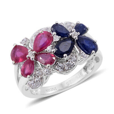 Fissure Filled Ruby Treated Blue Sapphire Cluster Ring Platinum Size 5 Ct 2.5