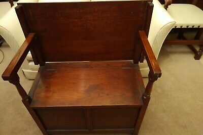 Solid Oak Antique Monks Seat/Settle