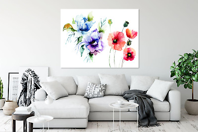 Watercolour leaves and flowers  Australian made framed Stretched wall Canvas