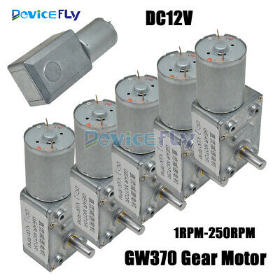 DC12V Gear Reduction Motor 1RPM-250RPM GW370 Worm Reversible Torque Geared Motor