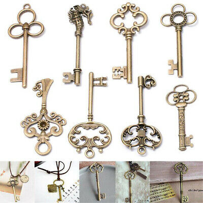 8Pcs/Set Vintage Antique Royal Skeleton Key Pendant Old Look Jewelry Craft Decor