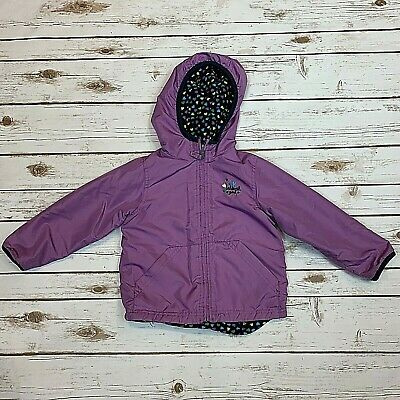 Oshkosh B'Gosh Toddler Jacket Girls Reversible Fleece Purple Polka Dot Size 3T