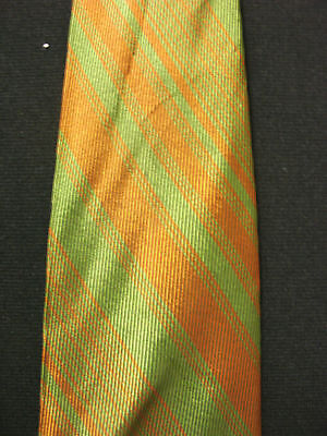 Vintage 1950'S-1960'S Olive Green & Brown Striped Tie
