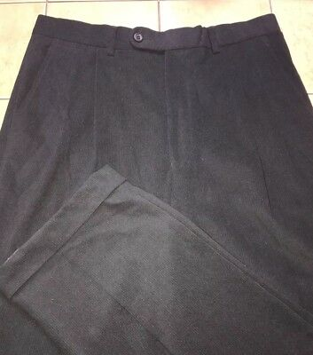 Jack Victor Prossimo Pants Sz 33 x 33 Black Thick Corduroy Polyester Pleats Cuff