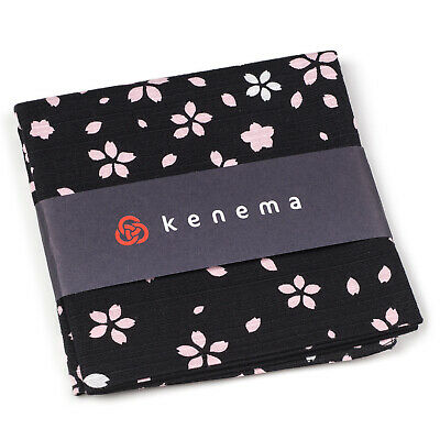 Black and Pink Blossom Japanese Handkerchief