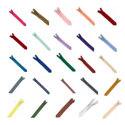 "6"" - 22"" Close Ended Nylon Zips No3 - 10 Sizes & 25 Colours For Sewing & Crafts"