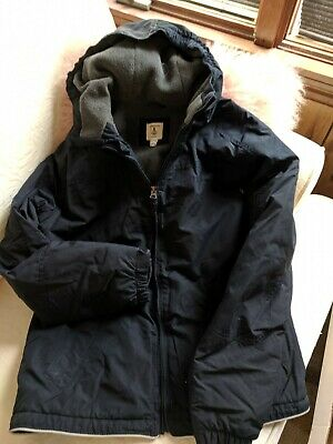 jacket boys Lands End Size 14-16 Large navy blue hooded Grow-a-long feature