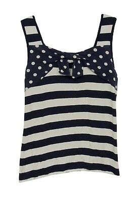 Girls M&S Autograph Blue White Breton Stripe Sleeveless Vest Top Age 10 Years