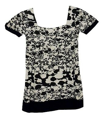 Girls Next Black White Floral Short Sleeve Soft Feel Jersey Dress Age 9 Years