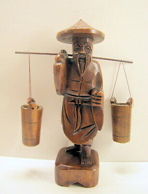ANTIQUE ASIAN CARVED STATUE WOOD MAN w/ 2 BUCKETS