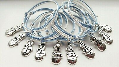 10x SNOWMAN / SNOWFLAKE BRACELETS Christmas Frozen Party Bag Filler gift