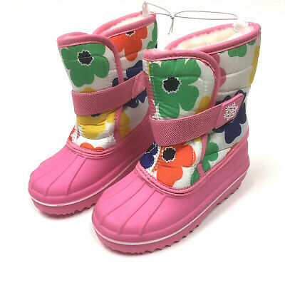 The Children's Place Kids Snow Boots Toddler Little Girls 10 Pink Floral Flowers