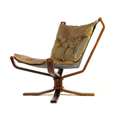 Retro Vintage Leather Falcon Lounge Chair Armchair Sigurd Ressell Danish 60s 70s