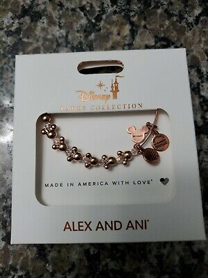 Disney Parks Alex And Ani Mickey And Minnie Mouse Icon Rose Gold Bracelet