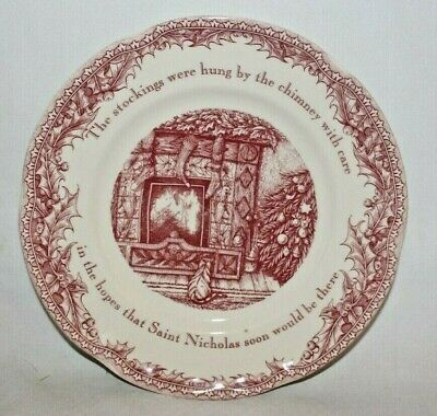 """Johnson Brothers Twas the Night Before Christmas Holiday 8"""" Salad Plate New"""