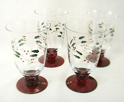 Pfaltzgraff Christmas Winterberry Set of 4 Etched Water Goblets - NIB