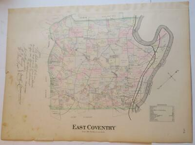 1883 Breou's Hand-Colored Map East Coventry Twp Chester County Pa.,River,Creek