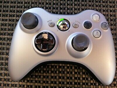 Official Genuine Microsoft Xbox 360 Wireless Controller Silver Tested & Cleaned