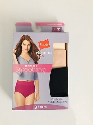 3 Pairs Hanes Premium Womens Seamless Soothing Briefs Size 9/2XL ✨