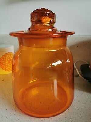 Retro Mid Century English Orange Glass Xtra Large Kitchen Jar