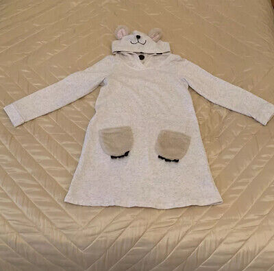 Girls Sweatshirt By H&M Polar Bear Hooded Sweatshirt/dress Age 8-10yrs