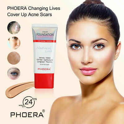 PHOERA Liquid Foundation flawless lasting Makeup Full Coverage Velvety Matte 24h