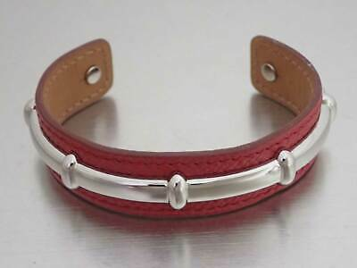 Auth HERMES Square D (2000) Cuff Bangle Bracelet Red Leather/Silvertone - e42926