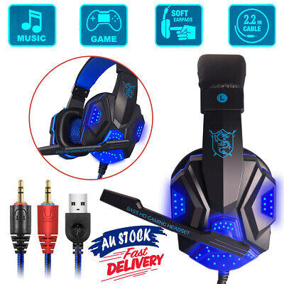 Gaming Headset AU Computer Game Headphones With Microphone Deep Bass Stereo
