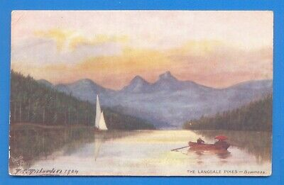 The Langdale Pikes,Bowness.tucks Oilette Postcard Posted 1906