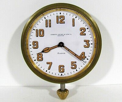 c1920s CONCORD WATCH CO. 8 DAY TRAVEL & CAR CLOCK SHREVE, CRUMP & LOW FOR REPAIR