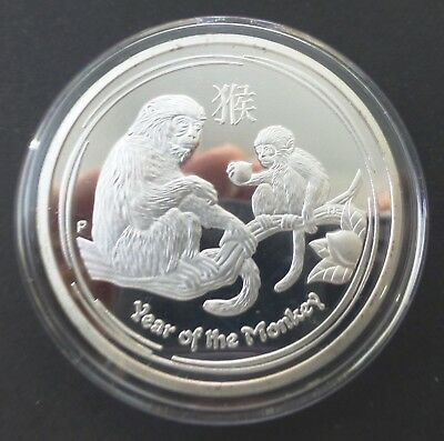 Elizabeth Ii - Year Of The Monkey 1 Oz Finished With 0.999 Silver Coin