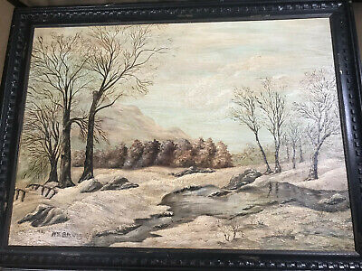 """After Walter Emerson Baum (1884 -1956) """"Winter In Sellersville"""" Oil Painting"""