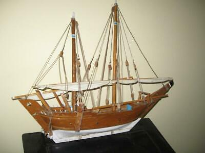 Antique Handcrafted Wooden Fully Assembled Tall Ship Sail Boat Model