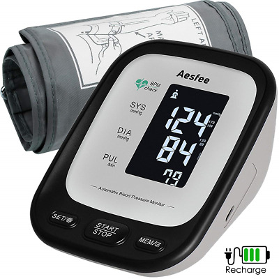 Upper Arm Blood Pressure Monitor USB Rechargeable, Accurate Automatic BP Machine