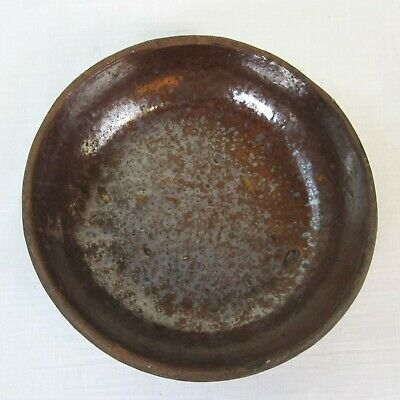 """Antique PA Country Primitive Redware Pottery Plate 19th Century 6"""" Diameter"""