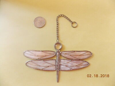 Hanging Dragonfly Ornament Metal/Glass
