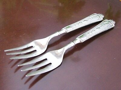 LBL Italy Silverplate Dessert Forks Set of Two 1920s LB12 SilverPlate Pie Forks